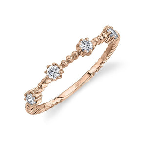 14K Rose Gold Diamond Beaded Band
