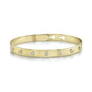 14K Yellow Gold Diamond Bezel Latch Bangle