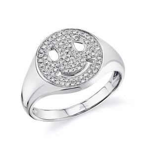 14K White Gold Pave Diamond Smiley Ring