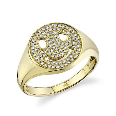14K Yellow Gold Pave Diamond Smiley Ring