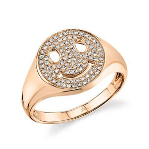 14K Rose Gold Pave Diamond Smiley Ring