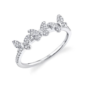 14K White Gold Diamond Triple Butterfly Ring