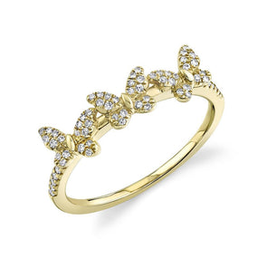 14K Yellow Gold Diamond Triple Butterfly Ring
