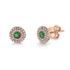 14K Yellow Gold Diamond + Green Garnet Earrings