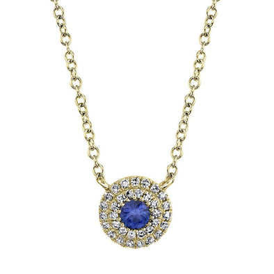 14K Yellow Gold Diamond + Blue Sapphire Necklace