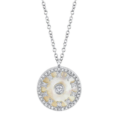 14K White Gold Diamond + Mother of Pearl Necklace