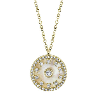 14K Yellow Gold Diamond + Mother of Pearl Necklace