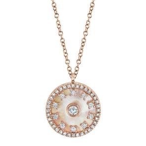 14K Rose Gold Diamond + Mother of Pearl Necklace