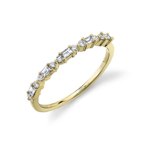 14K Yellow Gold Round + Baguette Diamond Band