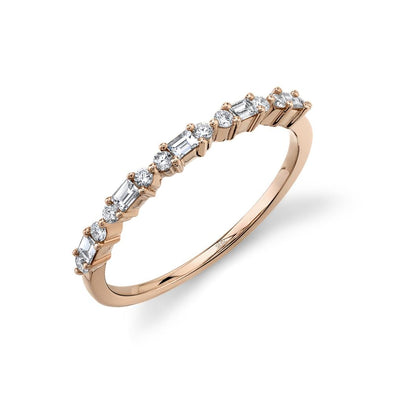 14K Rose Gold Round + Baguette Diamond Band