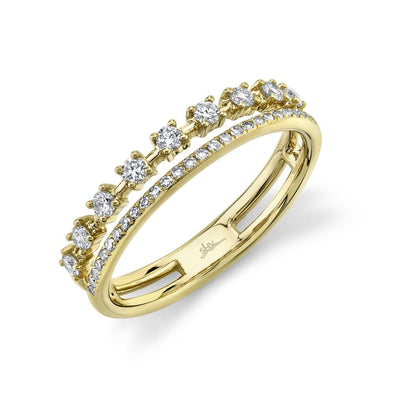 14K Yellow Gold Diamond Double Band