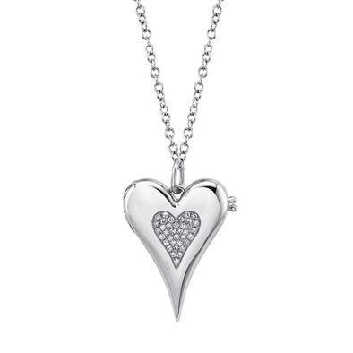 14K White Gold Diamond Pave Heart Locket Necklace