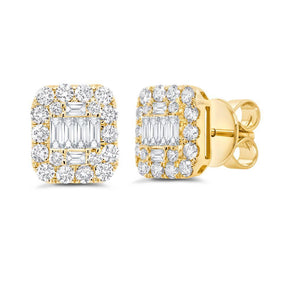 14K Yellow Gold Diamond Cluster Earrings