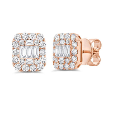14K Rose Gold Diamond Cluster Earrings