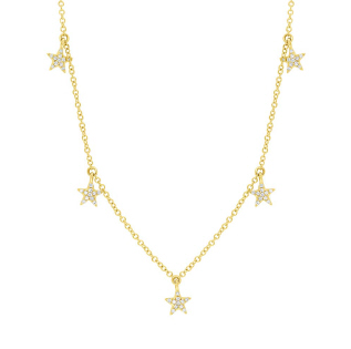 Yellow Gold 14K Dangling Diamond Star Necklace