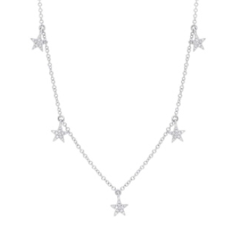 14K White Gold Dangling Diamond Star Necklace