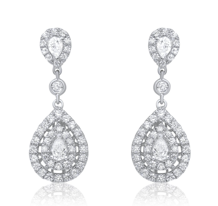 Double Pear Diamond Dangle Earring