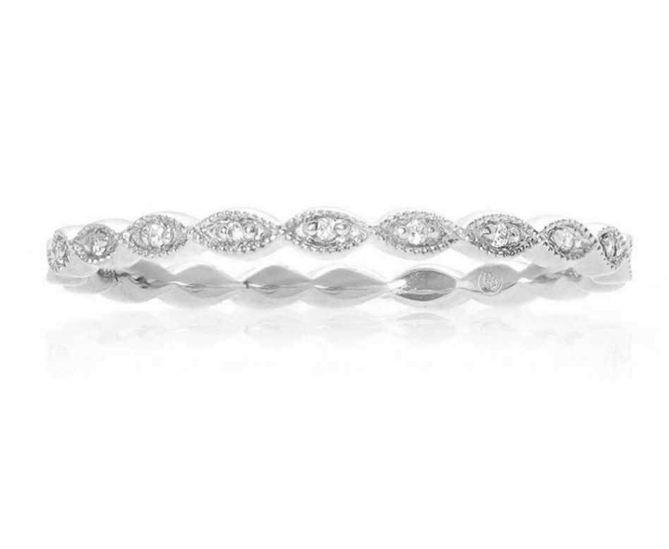 Milgrain Leaf White Diamond Band