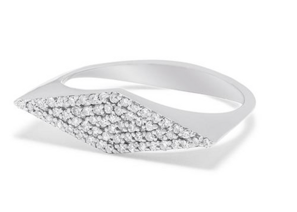 14K White Gold Diamond Shaped Ring
