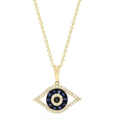 14K Yellow Gold Sapphire & Diamond Evil Eye Pendant