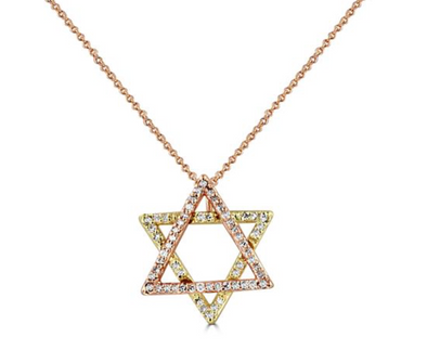14K Two-Tone Star of David Necklace