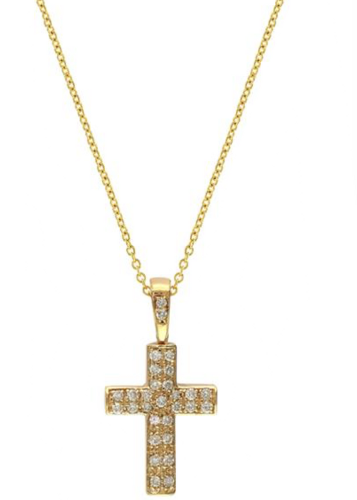 Yellow Gold Diamond Cross Pendant