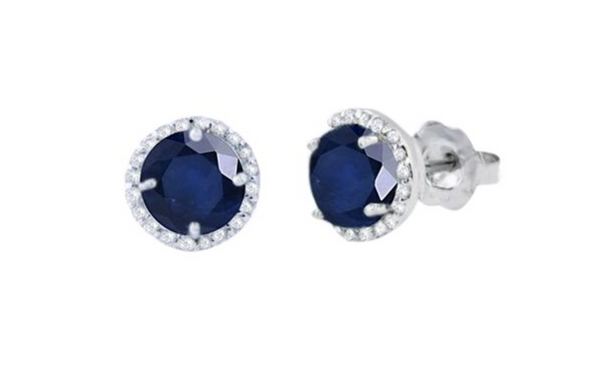 14K White Gold Blue Sapphire and Diamond Stud Earrings