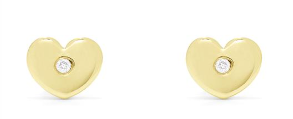 Diamond Accented Heart Earrings
