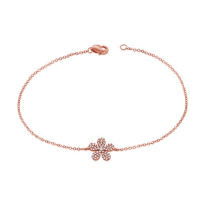 14K Rose Gold Diamond Pave Flower Bracelet