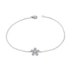 14K White Gold Diamond Pave Flower Bracelet