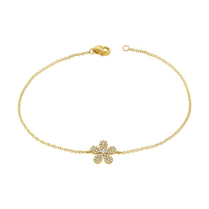 14K Yellow Gold Diamond Pave Flower Bracelet