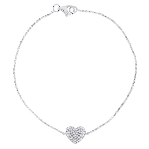 14K White Gold Diamond Pave Heart Bracelet