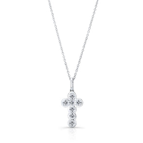 14K White Gold 6 Diamond Bezel Cross