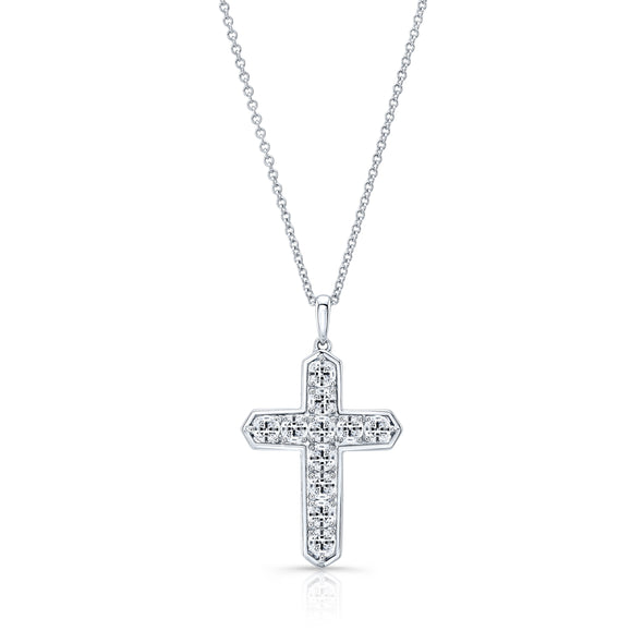 14K White Gold 11 Diamond Cross Geometric Bezel