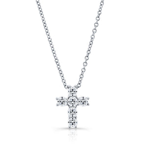 14K White Gold 6 Diamond Cross (4 Prong)