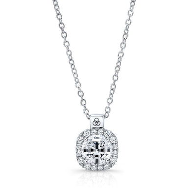 14K White Gold Cushion Halo Diamond Pendant