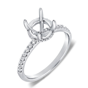14K White Gold Diamond French Halo Mounting