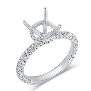 14K White Gold Diamond Round Under Halo Mounting