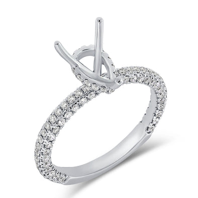 14K White Gold Diamond Pear Hidden Under Halo Mounting