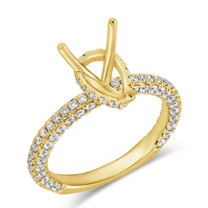 14K Yellow Gold Diamond Pear Hidden Under Halo Mounting
