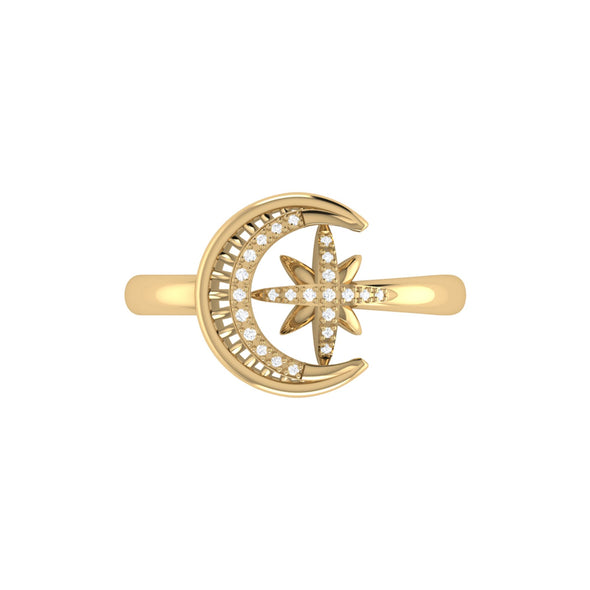Moon-Cradled Star Ring in 14 KT Yellow Gold Vermeil on Sterling Silver