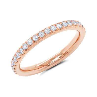 14K Rose Gold Diamond 2.4mm Eternity Band
