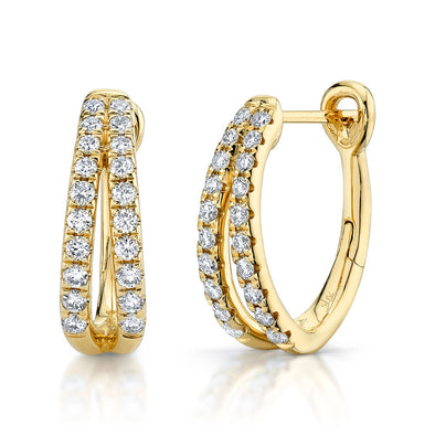 14K Yellow Gold Diamond Oval Hoop Earrings