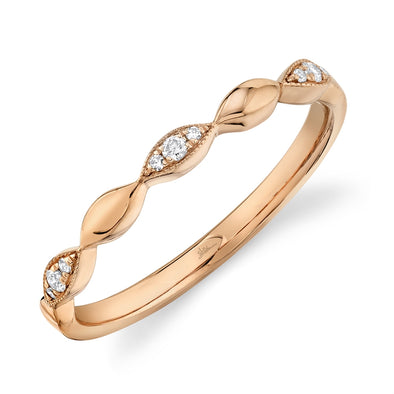 14K Rose Gold Diamond Lady's Band