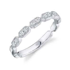 14K White Gold Diamond Stacking Ring