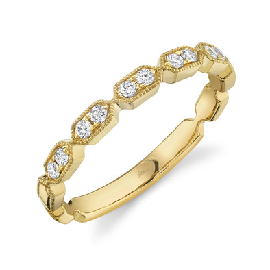 14K Yellow Gold Diamond Stacking Ring