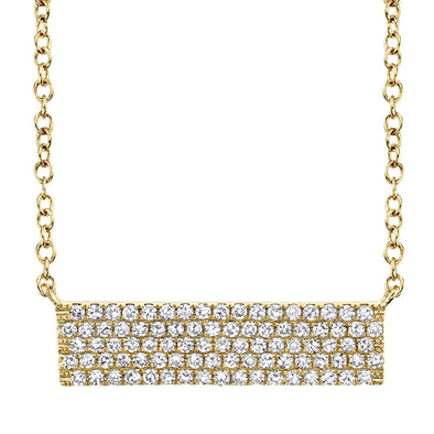 14K Yellow Gold Diamond Pave Bar Necklace