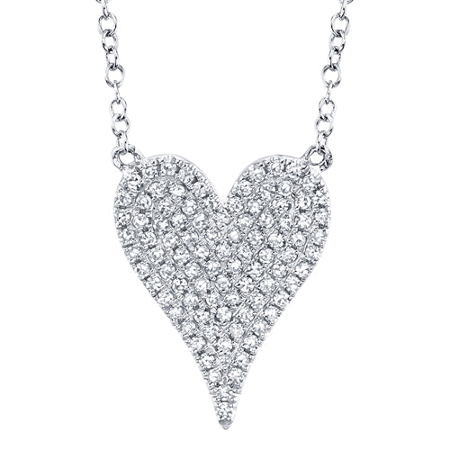 14K Yellow Gold Pave Diamond Heart Necklace (Medium)