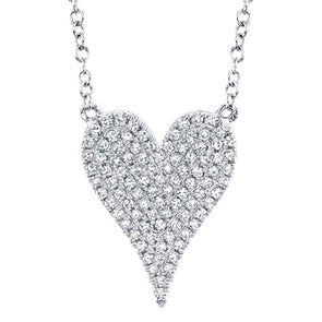 14K White Gold Pave Diamond Heart Necklace (Medium)