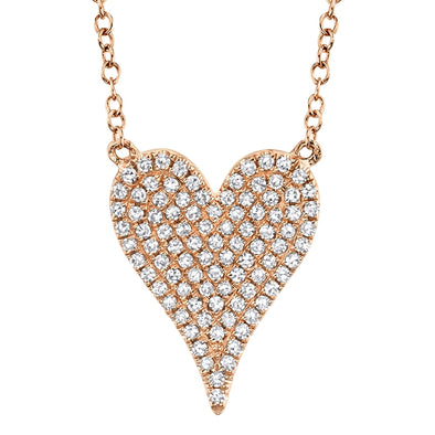 14K Rose Gold Pave Diamond Heart Necklace (Medium)